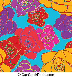 Seamless Bright Roses Pattern - This is a resizable seamless...