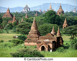 temples in Bagan, Myanmar - Ancient Buddhist temples in...