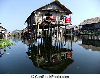 pile dwelling on Inle lake, Myanmar