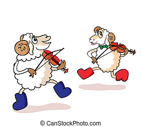Lambs are musicians - Two cheerful lambs play violins