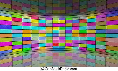 multicoloured screens in studio - multicoloured screens in...