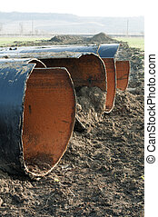Old metal pipes dismantled for scrap
