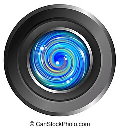 Abstract Blue Camera Lens