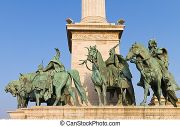 Statues, Hungarian, chieftains, Heroes', Square, Budapest,...