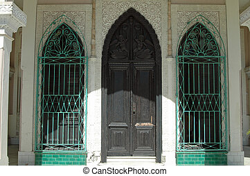 Entrance with green grilles - Wooden Entrance and windows...