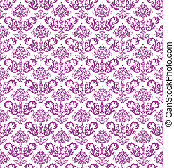 Seamless pink floral wallpaper on white background vector...