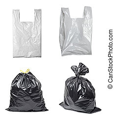 white plastic bag trash garbage - collection of various...