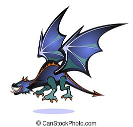 dragon - Stylized blue flyingdragon isolated on a white...