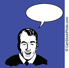 man with speech bubble - Retro style man with speech bubble...