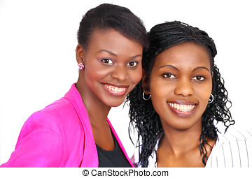 Two happy women - Face portrait of two beautiful and happy...