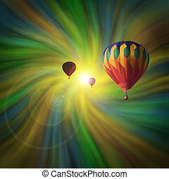 Hot-Air Balloons Flying in a Vortex - Hot-Air Balloons...