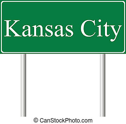 Kansas City green road sign isolated on white background