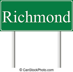 Richmond green road sign isolated on white background