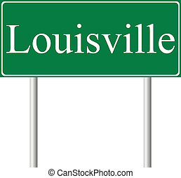 Louisville green road sign isolated on white background