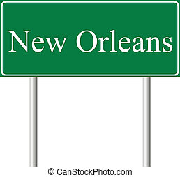 New Orleans green road sign isolated on white background