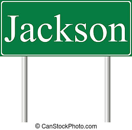 Jackson green road sign isolated on white background