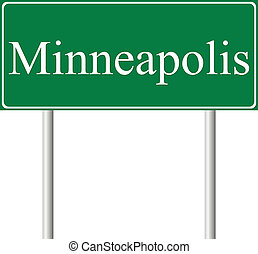 Minneapolis green road sign isolated on white background