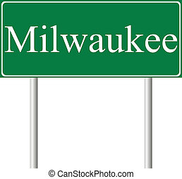 Milwaukee green road sign isolated on white background