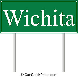 Wichita green road sign isolated on white background