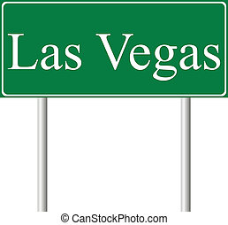 Las Vegas green road sign isolated on white background