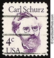 taxa postal,  1982, EUA, selo,  schurz,  carl