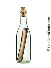 scroll message in bottle - ancient scroll message in the...