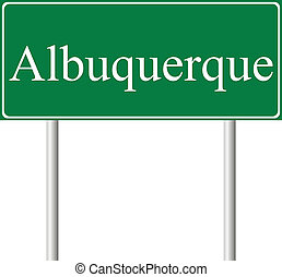 Albuquerque green road sign isolated on white background