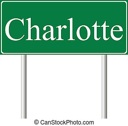 Charlotte green road sign isolated on white background