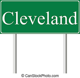 Cleveland green road sign isolated on white background