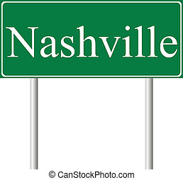 Nashville green road sign isolated on white background