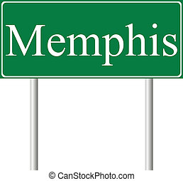 Memphis green road sign isolated on white background