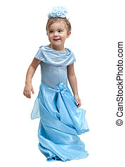 Playing Dress-up - Darling little girl in a dress. Isolated...