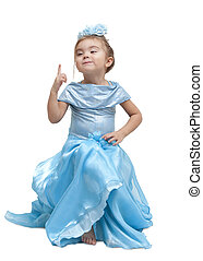 Playing Dress-up - Adorable little girl in a dress. Isolated...