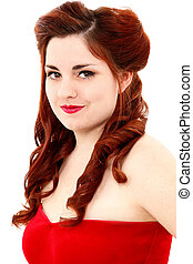 Retro Vintage Hair Style Half Updo and Make Up