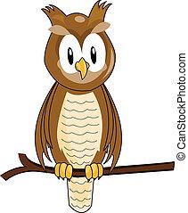 funny owl cartoon - illustration of funny owl cartoon
