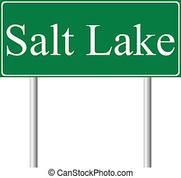 Salt Lake City green road sign isolated on white background