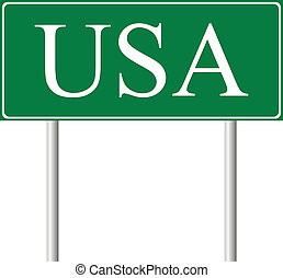 USA green road sign isolated on white background