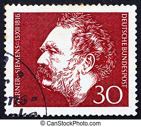 Postage stamp Germany 1966 Werner von Siemens - GERMANY -...