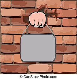 brick wall with his hand