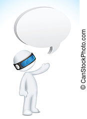 3d Man in Vector with Speech Bubble - illustration of 3d man...