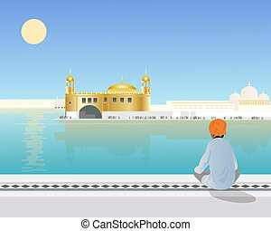 amritsar - an illustration of a sikh boy sitting looking...