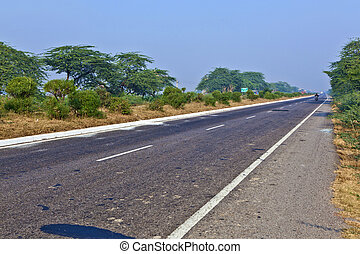 empty highway early morning in India