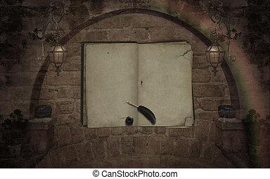 Årgång,  blanked, bok, gammal, bakgrund