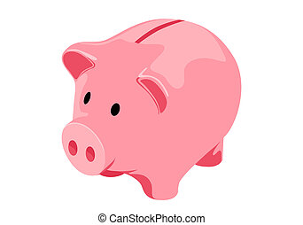Piggy bank - Vector Piggy bank on white background