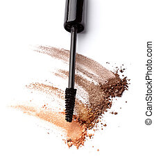 black mascara face powder beauty make up - close up of black...