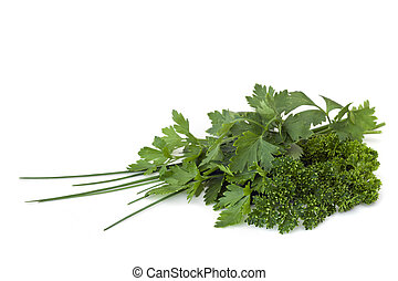 Parsley and Chives - Parsley and chives, over white...
