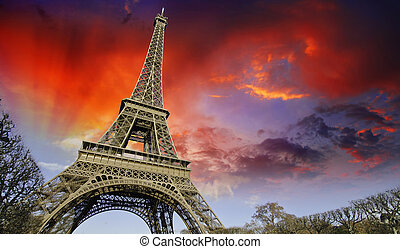 Sunset over Eiffel Tower from Champs de Mars, Paris