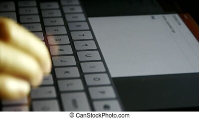 Typing an email on a touchscreen keyboard,Virtual...