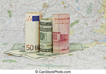 Euro, Dollar, and Yuan Currency