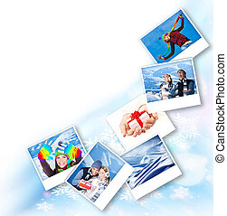 Winter photo collage border, abstract snowflake decoration...